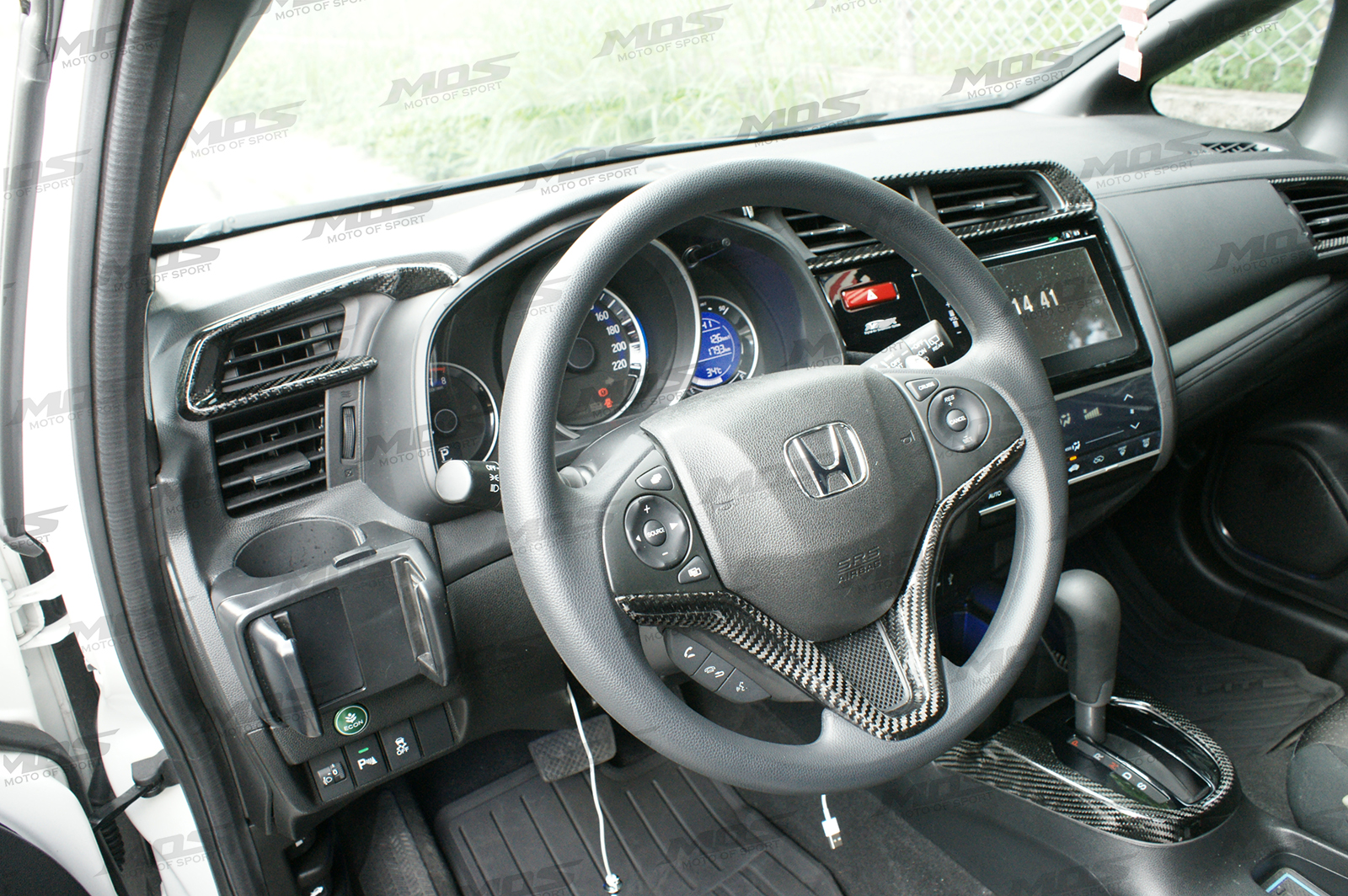 Carbon Fiber Steering Wheel Trim For Honda Fit 3rd Gen