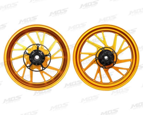 Forged Aluminum Alloy Wheels Set for Kymco AK550 2018-2020 Matt Golden 10 Spokes、KYMCO AK 550 15吋鍛造輪框 10爪-消光金-右側、KYMCO AK 550 鍛造アルミホイール 前後セット (10スポーク)